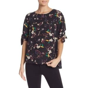 Everleigh Patterned Tie Sleeve Top Size L